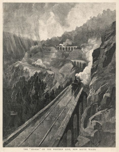 "The ""Zig-Zag"" on the Western Line, New South Wales, Australia. Zig-zag railway (probably the Lithgow Zig-Zag) built in the mid-19th century to overcome an otherwise insurmountable climb up the western side of the Blue Mountains"