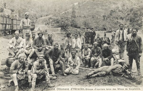 Miners of the Ottoman Heraclea Collective at Kerpitchlik, Zonguldak (formerly Heraclea), a city and the capital of Zonguldak Province in the Black Sea region of Turkey