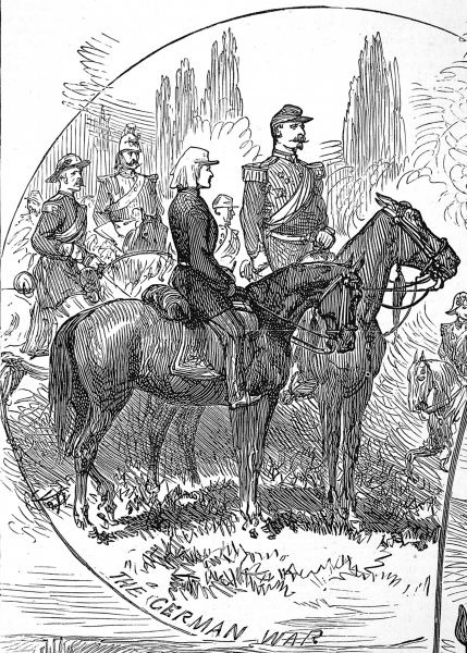 As a young man observing the Franco-Prussian war with his father. The Prince Imperial is shown on horseback, in uniform, with his father Louis Napoleon