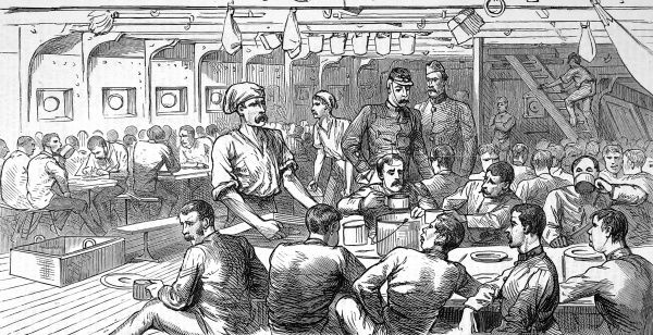 Subaltern on watch and troops below decks enjoying their dinner. British soldiers on their way by ship to South Africa to provide reinforcements for the British army
