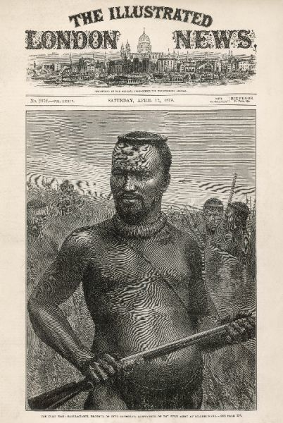 Portrait of Dabulamanzi, with Zulu warriors behind him. Dabulamanzi was the leader of the Zulu army in their most famous victory against the British at Isandhlawana