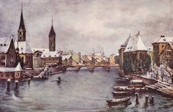 Zurich and the Rhine in winter Date: 1908