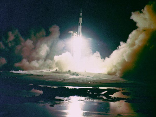Liftoff of the Apollo 17 Saturn V Moon Rocket from Pad A, Launch Complex 39, Kennedy Space Center, Florida, at 12:33 a.m., December 17, 1972. Apollo 17, the final lunar landing mission, was the first night launch of a Saturn V rocket