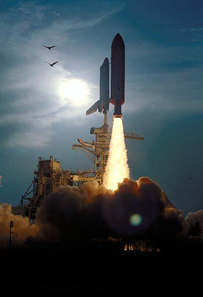 The Space Shuttle Discovery soars skyward from Launch Pad 39B on Mission STS-64 at 6:22:35 p.m. EDT, September 9, 1994. On board are a crew of six: Commander Richard N. Richards; Pilot L. Blaine Hammond Jr.; and Mission Specialists Mark C. Lee, Carl J