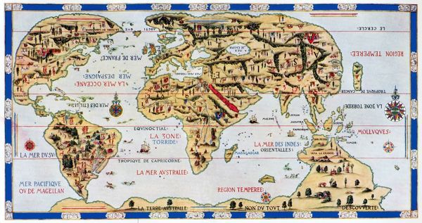 16th Century World Map Made By Pierre Desceliers In 1546