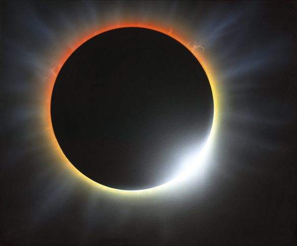 Annular solar eclipse, artwork. An eclipse occurs when the Moon passes in front of the Sun. Here, the Moon is at a distant point in its orbit, and this results in an annular eclipse where the outer edge of the Sun has formed a ring around the Moon