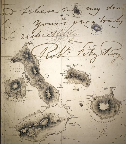 Admiralty map of Galapagos 1845 resulting from Captain Robert Fitzroy's Beagle charts, overlain with a portion of a letter written by Fitzroy