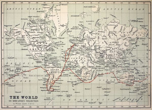 "Map of the World with Voyage of the Beagle coloured in red. Appendix from ""The Voyage of HMS Beagle"" by Charles Darwin (Cover Title) New Edition 1890 John Murray Publishers. Coloured print, retaining gentle age-toning of the original"