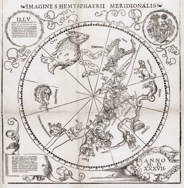 Southern Hemisphere Star Chart 16th Century Planisphere Of The
