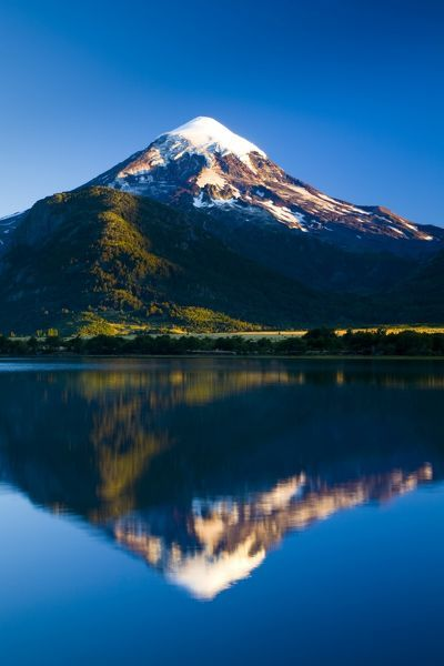 argentina, The Lake District, Parque Nacional Lanin. Lanin volcanoe, an ice-clad, cone-shaped stratovolcano on the border of Argentina and Chile