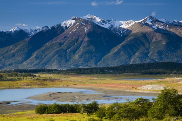 Argentina, Patagonia, Los Glaciares National Park. Lake Roca, situated amidst a mountain backdrop