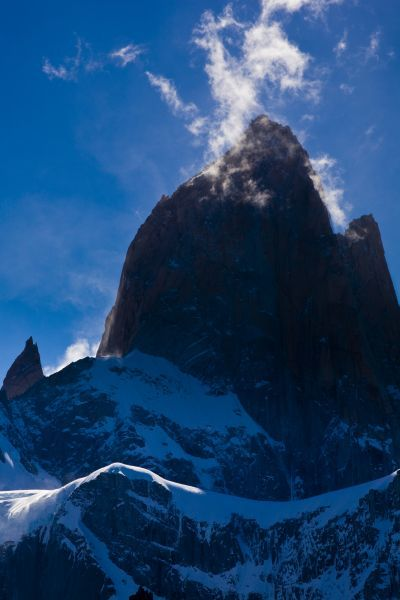 Argentina, Patagonia, Los Glaciares National Park. Storm clouds clear from the peak of the Fitz Roy