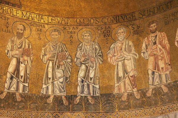 Detail of 13th century apse Byzantine mosaics, Cathedral of Santa Maria Assunta
