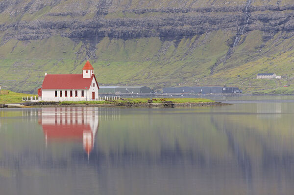 Church in Hvannasund, Vidoy Island, Faroe Islands, Denmark, Europe