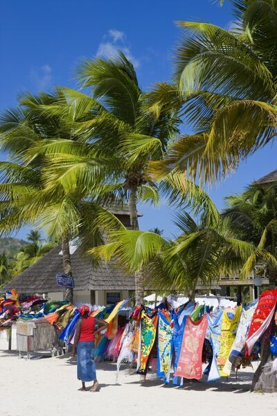 Colourful designs for sale along Jolly Beach, Antigua, Leeward Islands