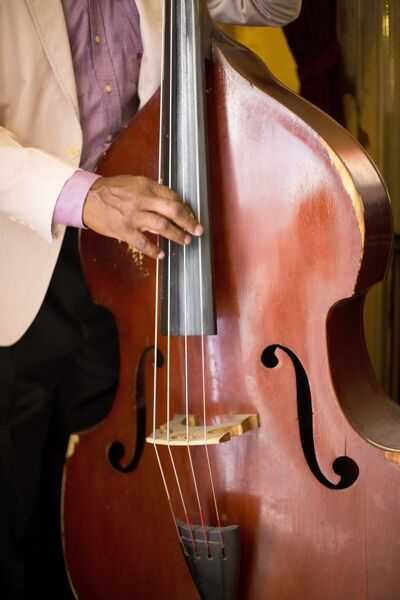 Detail of double bass being played by a local musician in Bar El Floridita, Havana, Cuba, West Indies, Central America