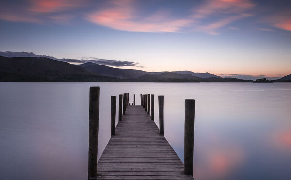 Ferry landing stage on Derwent Water at sunset near Ashness Bridge in Borrowdale, in the Lake District National Park, UNESCO World Heritage Site, Cumbria, England, United Kingdom, Europe