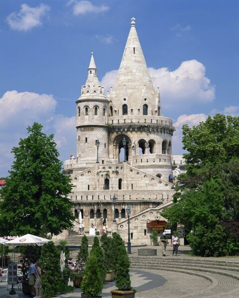 The Fishermans Bastion, a landmark in Budapest, Hungary, Europe