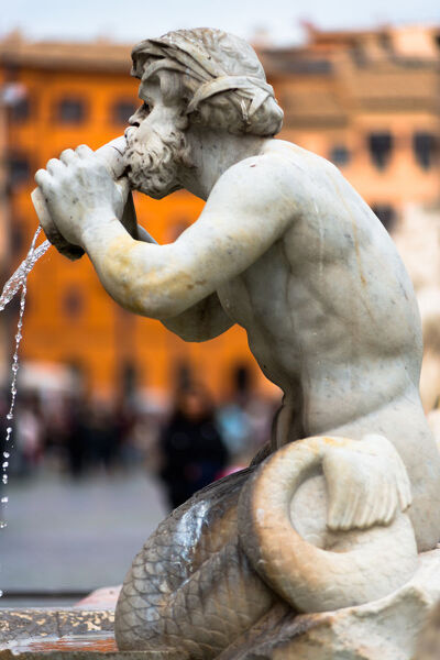 Fontana del Moro fountain located at the southern end of the Piazza Navona, Rome, Lazio, Italy, Europe