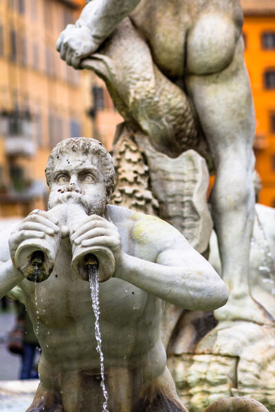 Fontana del Moro fountain located at the southern end of the Piazza Navona in Rome, Lazio, Italy, Europe