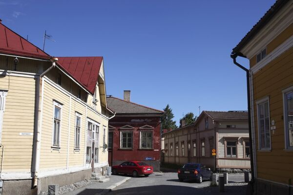 Historic street and wooden housing in Old Town, UNESCO World Heritage Site