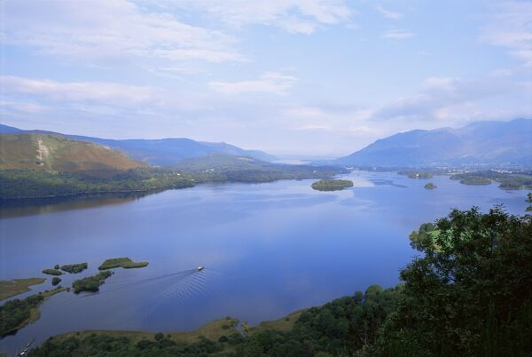Keswick and Derwent Water from Surprise View, Lake District National Park, Cumbria, England, United Kingdom, Europe
