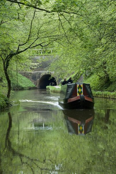 Narrow boat cruising the Llangollen Canal, England, United Kingdom, Europe