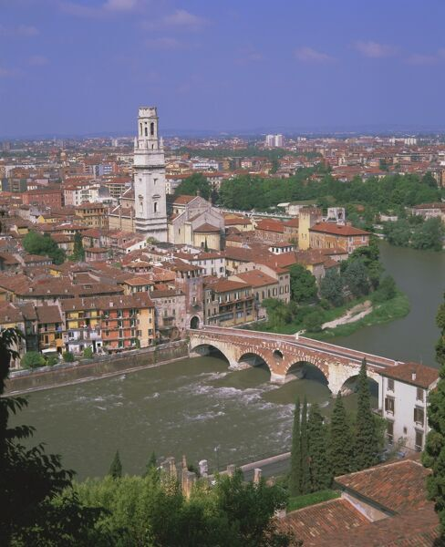The Ponte Pietra over the Adige River and Anastasia cathedral from Museo Archeologico, Verona, UNESCO World Heritage Site, Veneto, Italy, Europe