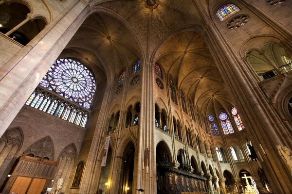 Rose window and the vaults of Notre Dame, UNESCO World Heritage Site, Paris, France, Europe