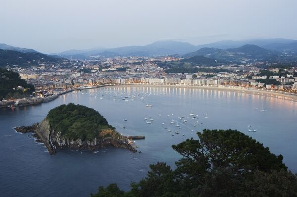 San Sebastian Bay at night, Basque Country, Euskadi, Spain, Europe