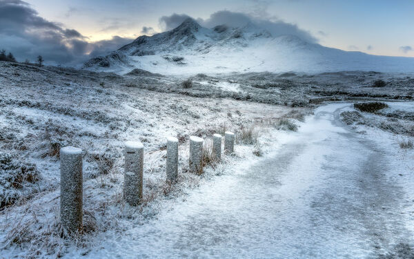 Sligachan in the snow, Isle of Skye, Inner Hebrides, Scotland, United Kingdom, Europe