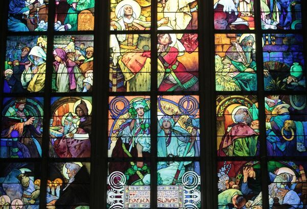 St. Vitus's Cathedral. stained glass of St. Cyril and Methodius by Alfons Mucha, Prague, Czech Republic, Europe