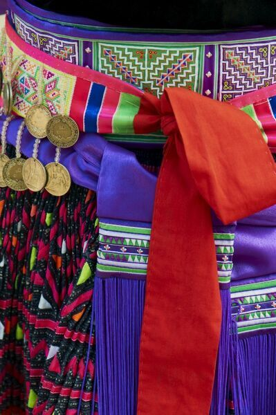Detail of traditional dress of Hmong woman, Lao New Year Festival, Luang Prabang