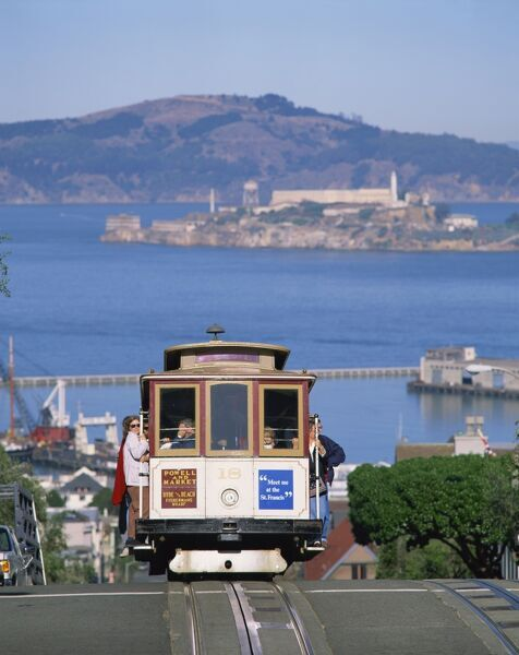 Tram on Russian Hill with view over Alcatraz, San Francisco, California, United States of America, North America
