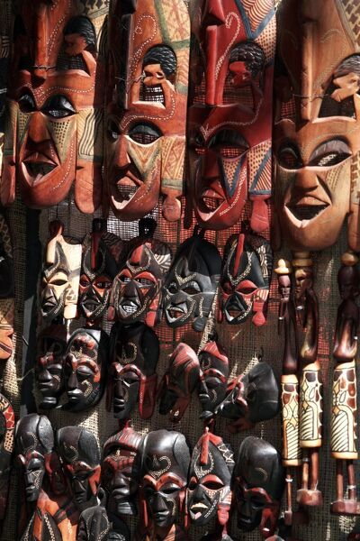 various african masks on sale at aswan souq aswan egypt north africa africa