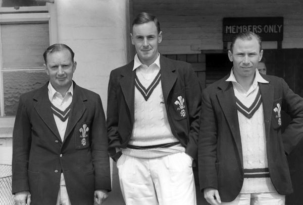 Cricket - 1955 season  Left to right, Arthur McIntyre, Peter May and David Fletcher of Surrey