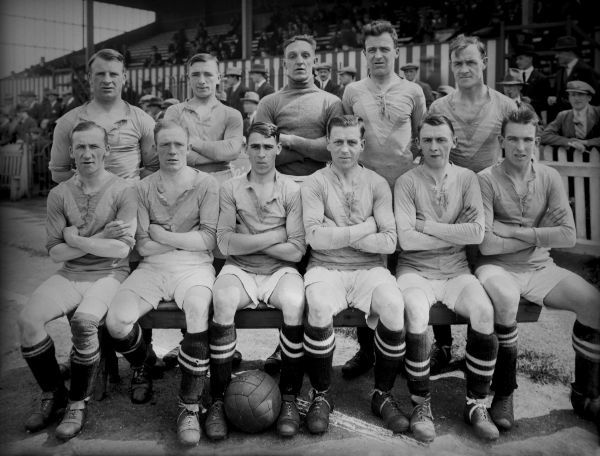 Football - 1926 / 1927 season - Durham City A.F.C. Team Group Back Row (left to right): John Stephenson, Jackie R. Stephenson, William Kirby, John Gurkin, George Malcolm Front: Ernest 'Ernie' Butler, George Hart, John Cooperthwaite, William 'Billy' Oxley