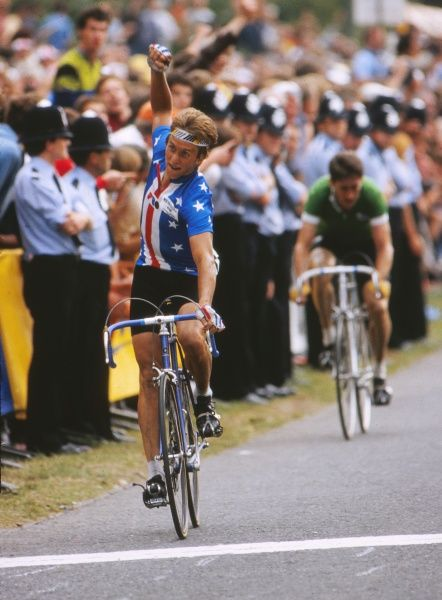 Cycling - 1982 UCI Road World Championships - Elite Men's Road Race The USA's silver medal winner Greg Lemond celebrates beating Ireland Sean Kelly to second place at Goodwood. 05/09/1982