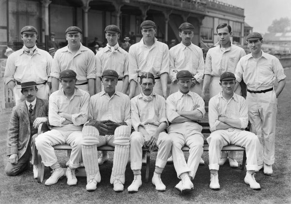Cricket - 1914 season - Lancashire County Cricket Club team group Back (left to right): Jack Sharp, Lawrence Cook, Ernest (G.E.) Tyldesley, James 'Jas' (J.D.) Tyldesley, William Huddleston, William (W.K.) Tyldesley, James Heap. Front: L. Smith (scorer)