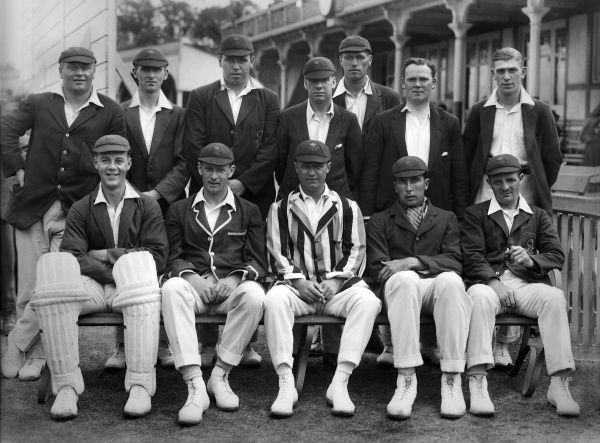 Cricket - 1921 season - Lancashire County Cricket Club team group Back (left to right): Lawrence Cook, Walker Ellis, Richard 'Dick' Tyldesley, Jack Sharp, Cecil 'Ciss' Parkin, Harry Tyldesley, Frank Watson. Front: ----, Ernest Tyldesley, Myles Kenyon