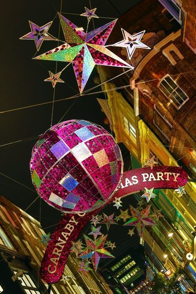 England Christmas Decorations.14x12 38x32cm Framed Print Of Carnaby Street Christmas Decorations Shaped Like Balls And Stars In London England