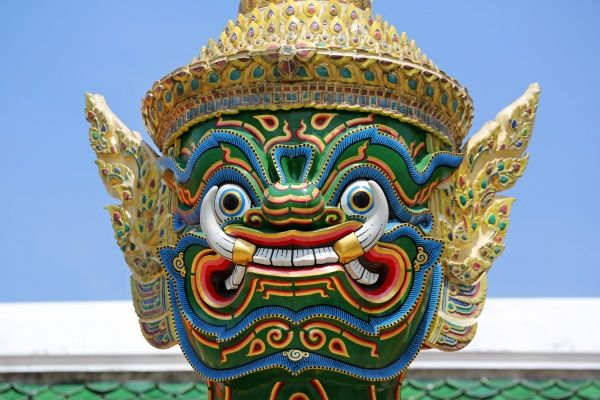 Giant Temple Guardian statue, Wat Phra Kaew, Temple of the Emerald Buddha Complex, Bangkok, Thailand