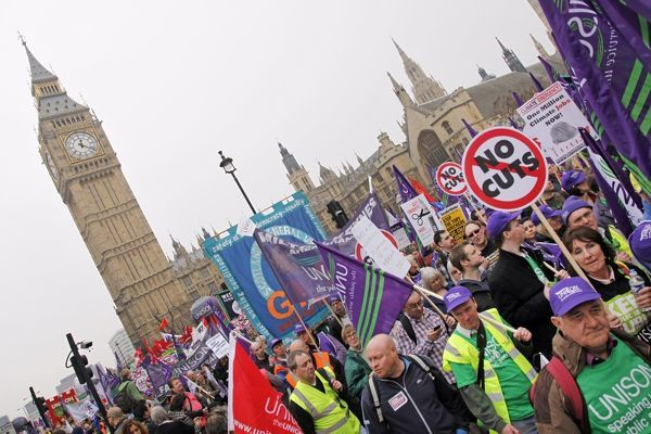 March for the Alternative anti-government demonstration passing Big Ben and the Houses of Parliament, London