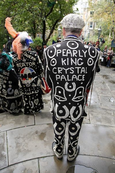 The Pearly King of Crystal Palace at the Pearly King and Queen second Harvest Festival, St. Paul's Church, Covent Garden. Pearly Kings and Queens attended the church service raising money for charity