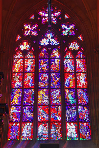 Stained glass windows of St. Vitus Cathedral, in the Prague Castle Complex in Prague, Czech Republic
