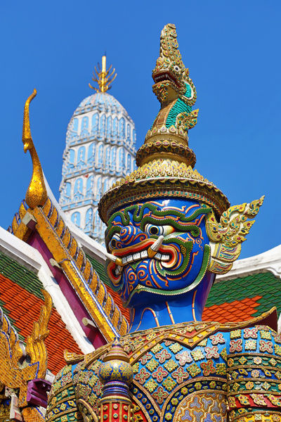 Virulhok (Wirunhok) Giant Yaksha Demon Temple Guardian statue at the Wat Phra Kaew Temple complex of the Temple of the Emerald Buddha and the Royal Palace complex in Bangkok, Thailand