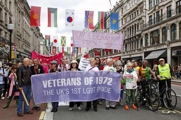 London, UK. 7th July 2012. Participants who were in the first Pride in 1972 marching in World Pride 2012, London, England