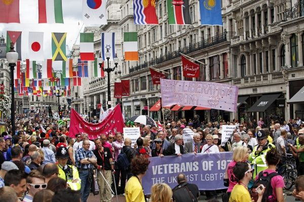 London, UK. 7th July 2012. Participants marching down Regent Street in World Pride 2012, London, England