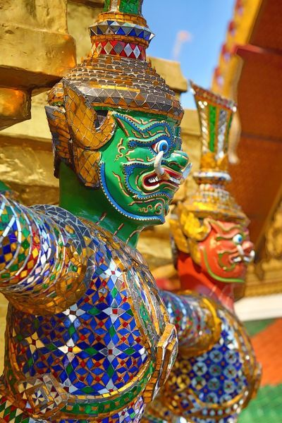 Yaksha Demon Statue at Wat Phra Kaew Temple complex of the Temple of the Emerald Buddha in Bangkok, Thailand