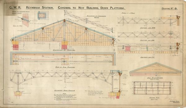 G.W.R Keynsham Station Drawing no.6 - Covering to New Building Down Platform - general plan, elevations and sections [1908]